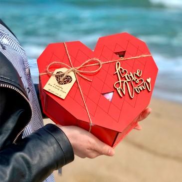 """Подарочная коробка из дерева """"Сердце"""" маленькое (пустая)"""
