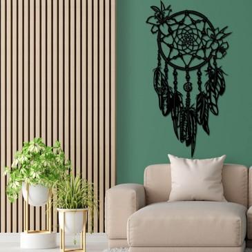 """Декоративное панно из дерева """"Ловец снов с цветами"""""""