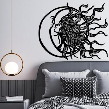 """Декоративное панно из дерева """"Луна с солнцем"""""""