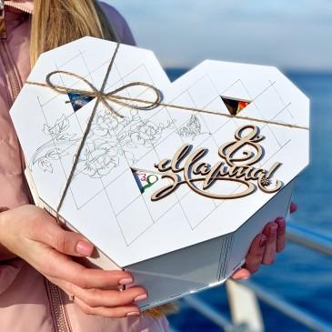 """Подарочная коробка из дерева """"Сердце"""" большое  (пустая)"""