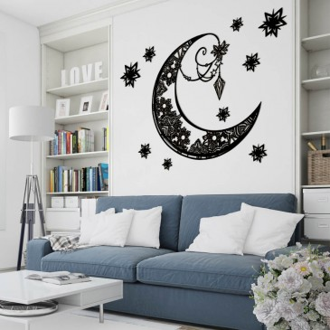 "Декоративное панно из дерева ""Луна и звезды"""