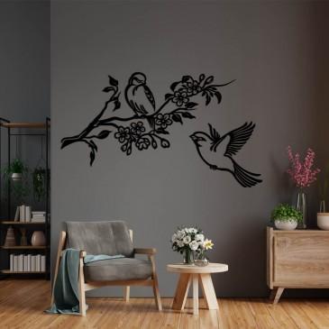 """Декоративное панно из дерева """"Семейные птички"""""""