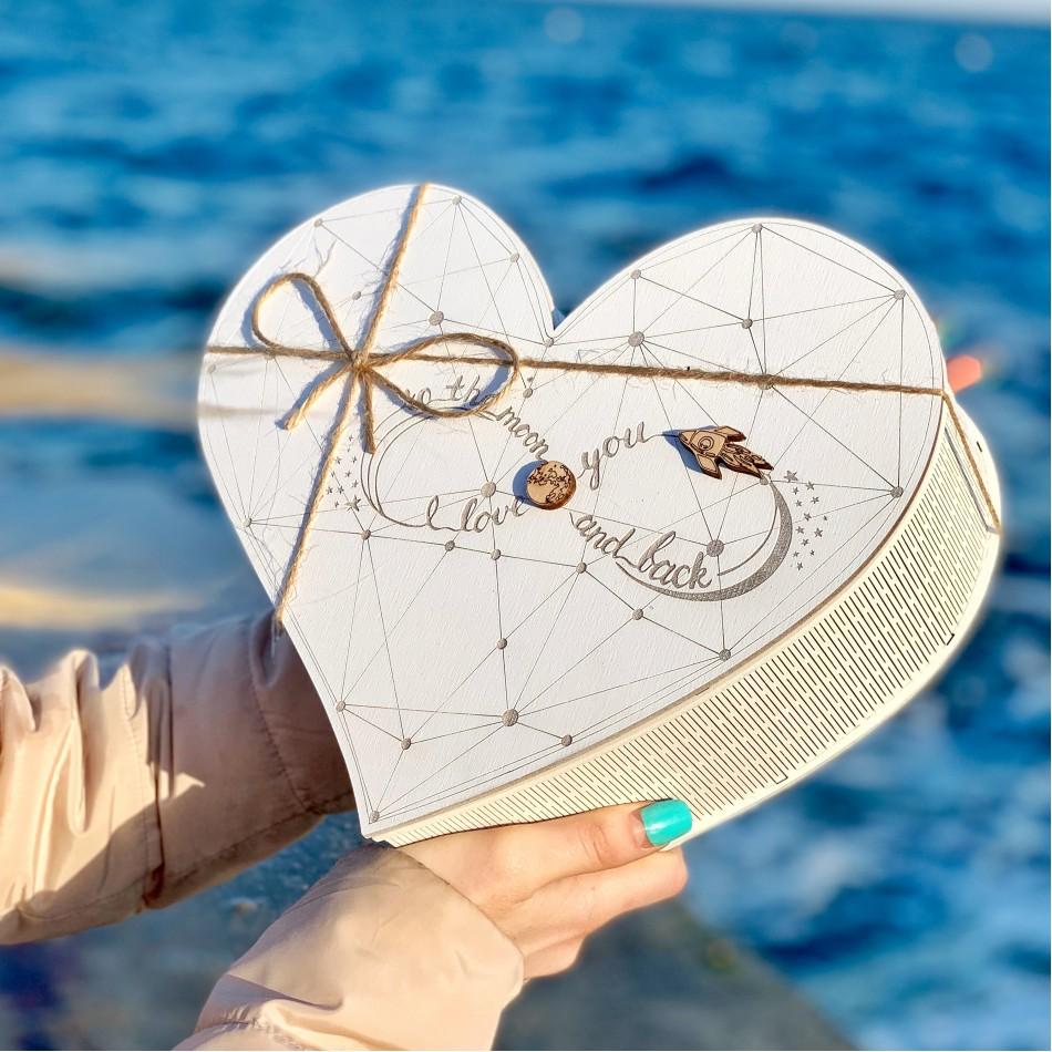 """Подарочная коробка из дерева """"Обтекаемое сердце"""" (пустая)"""