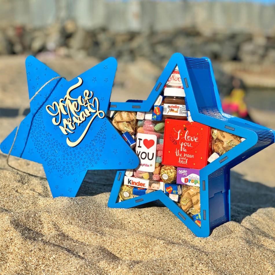 """Подарочная коробка из дерева """"Звезда"""" (пустая)"""