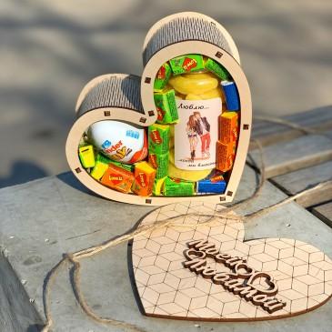 """Подарочная коробка из дерева """"Обтекаемое сердце"""" маленькая  (пустая)"""